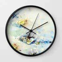watercolour Wall Clocks featuring Watercolour by Hipsterdirtbag