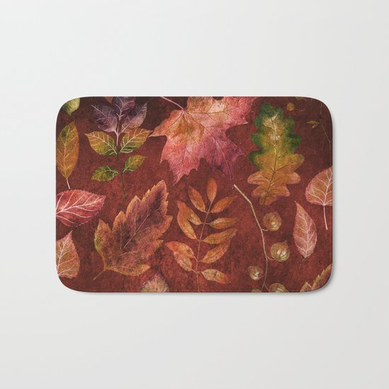 My favorite color is october- Colorful autumnal leaves pattern Bath Mat