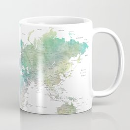 Watercolor world map in muted green and brown Coffee Mug