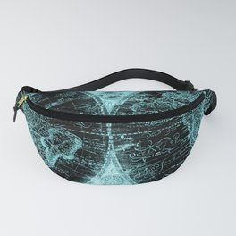 Antique World Map Turquoise Teal Blue Green Fanny Pack