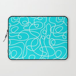 Doodle Line Art | White Lines on Bright Turquoise Laptop Sleeve