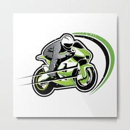 Motorcycle green racer  Metal Print