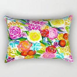 Neon Summer Floral // Small print Rectangular Pillow