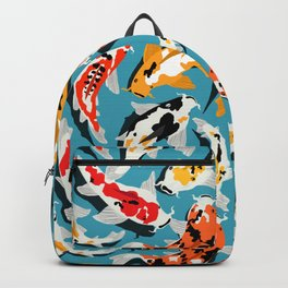 Colorful Koi Carps Swimming Around Backpack