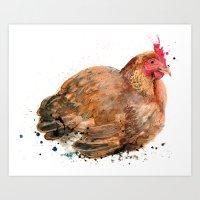 chicken Art Prints featuring Chicken by Suzie Foster