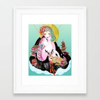 fawn Framed Art Prints featuring Fawn by Jessica Singh Illustration