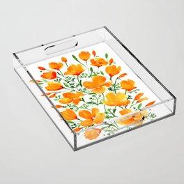 Watercolor California poppies Acrylic Tray