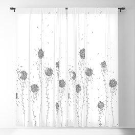 Floral Hand Drawn Doodle Art Blackout Curtain
