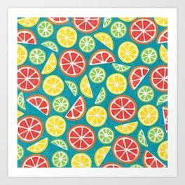 Vitamin C Super Boost - Citric Fruits on Petroleum Art Print