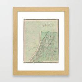 Vintage Map of Lafayette Indiana (1876) Framed Art Print