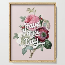 Have a nice day - retro roses Serving Tray