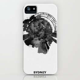 Sydney, Australia Black and White Skyround / Skyline Watercolor Painting iPhone Case