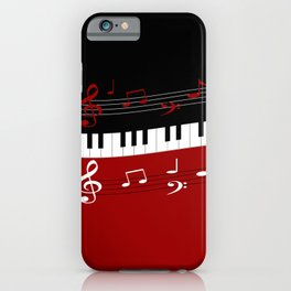 Stylish red. black and white piano keys and musical notes iPhone Case
