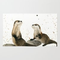 otters Area & Throw Rugs featuring Otters by Priscilla George