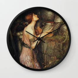 Lamia and the Soldier - Princess and Knight by John William Waterhouse Wall Clock