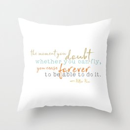 Nostalgic Inspirational Quote Storybook Quote from Peter Pan Throw Pillow