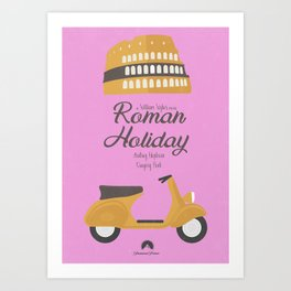 Roman Holiday, Audrey Hepburn,movie poster, Gregory Peck, William Wyler, romantic hollywood film Art Print