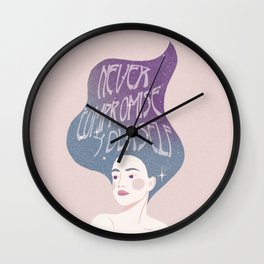 Never Compromise Yourself // Purple & Pink Mermaid Girl Wall Clock