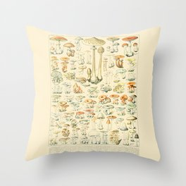Mushrooms // Champignons III by Adolphe Millot 19th Century Science Textbook Diagram Artwork Throw Pillow