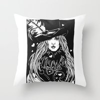 stevie nicks Throw Pillows featuring Blacklights Stevie by Lynette K.