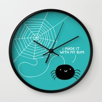 gemma Wall Clocks featuring Spiders Have all the Fun by gemma correll