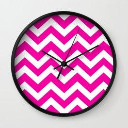Hollywood cerise - fuchsia color - Zigzag Chevron Pattern Wall Clock