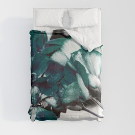 Dark Teal Flowers Comforters