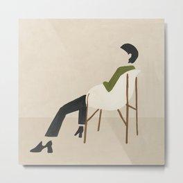 Eames Chair Woman Metal Print