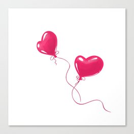 Heart shaped red balloons Canvas Print