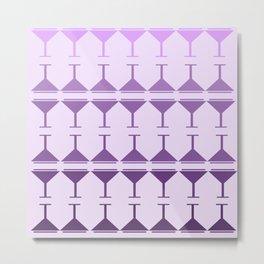 Monochromatic Martini - Purple Metal Print