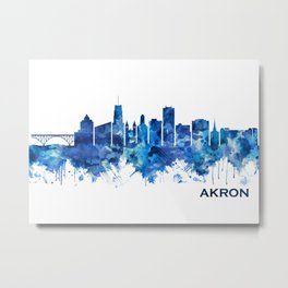Akron Ohio Skyline Blue Metal Print