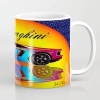 lamborghini Mugs featuring Lamborghini Aventador by JT Digital Art