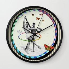 Ballet Hooping on The Beach with Butterflies Wall Clock