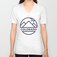 colorado V-neck T-shirts featuring Colorado by BMaw