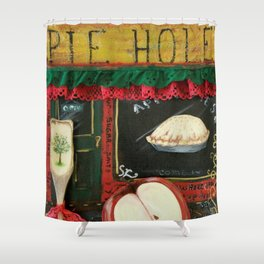 Pie Hole, Apple Pie, Mixed Media Art, by Faye Shower Curtain
