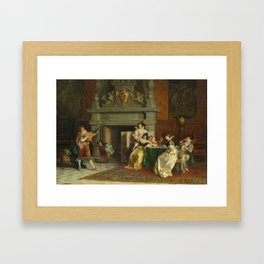 CONTI, TITO 1842 Florence 1924 The lute player. Framed Art Print