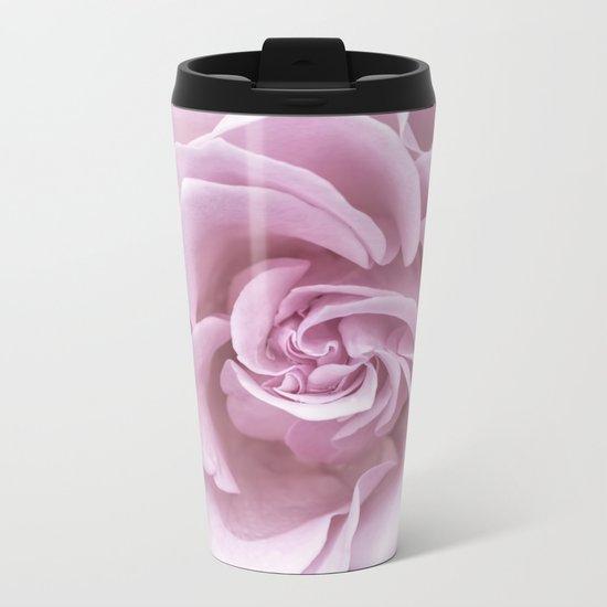 Pink Heart of a rose Roses Flowers Metal Travel Mug