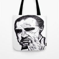 the godfather Tote Bags featuring The Godfather by tyler Guill