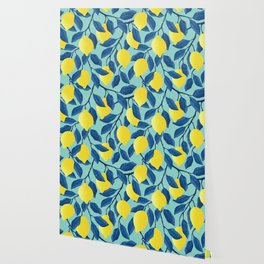 Vintage yellow lemon on the branches with leaves and blue sky hand drawn illustration pattern Wallpaper