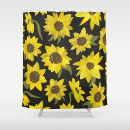 Sunflowers Acrylic on Charcoal Shower Curtain