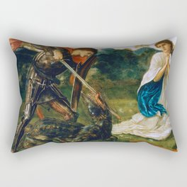 St George kills the dragon VI by Edward Burne-Jones. Rectangular Pillow