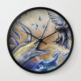Eel vs. Pigeon Wall Clock