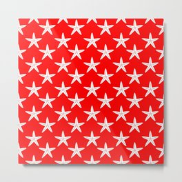 Starfishes (White & Red Pattern) Metal Print