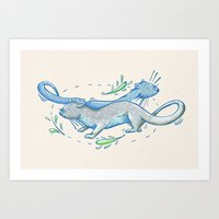 otters Art Prints featuring Otters by Grace Sandford