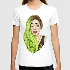 Lady Neon White SMALL Womens Fitted Tee
