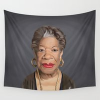 celebrity Wall Tapestries featuring Celebrity Sunday ~ Maya Angelou by rob art | illustration