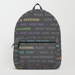 Colored Web Design Keywords Poster Concept Backpack