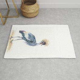 Grey Crowned Crane Bird Rug