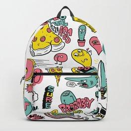 Weirdo Pizza Donut Sword Skull Pattern Backpack