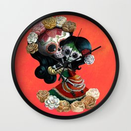 Dia de Los Muertos - Skeleton Mum and Daughter Moment Wall Clock
